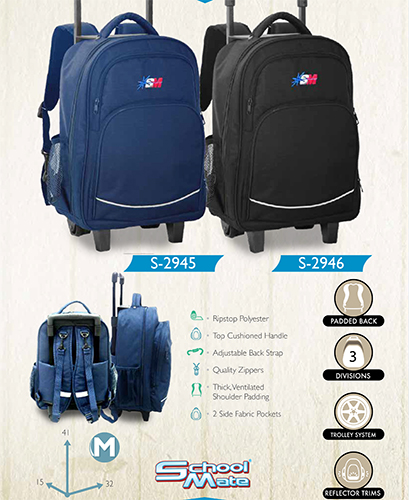 school mate (BLUE) trolley back pack S2945