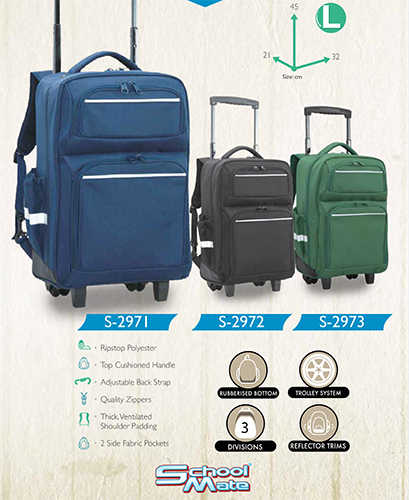 school mate (GREEN) trolley back pack S2973