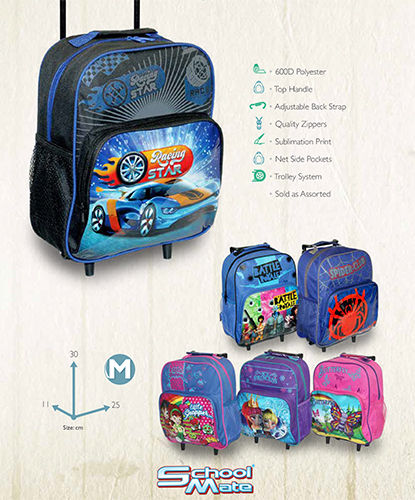 printed PVC trolley back pack S576