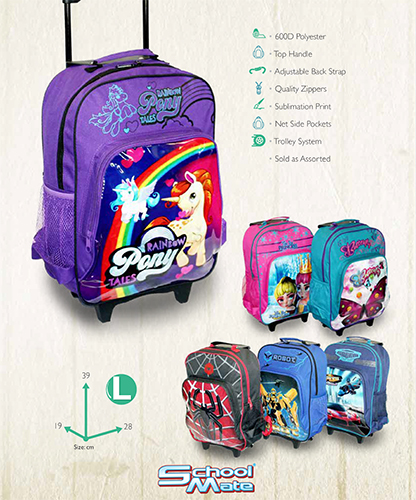 PRINTED PVC TROLLEY BACK PACK S577