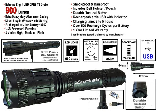 Zartek LED Heavy-Duty Torch ZA415