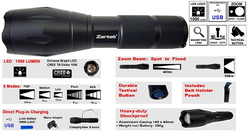 Zartek Extreme Bright LED Flashlight ZA416