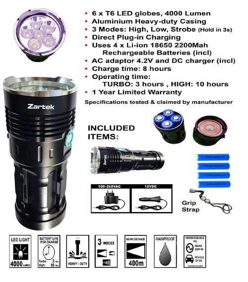 Zartek Extreme High Bright LED Flashlight ZA417