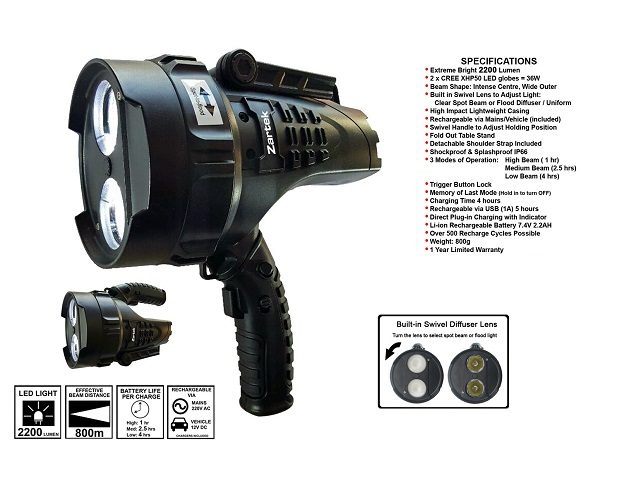 Zartek Mega Bright LED Spotlight ZA467F